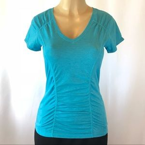 Zella Short Sleeve Workout Top Turquoise Blue M